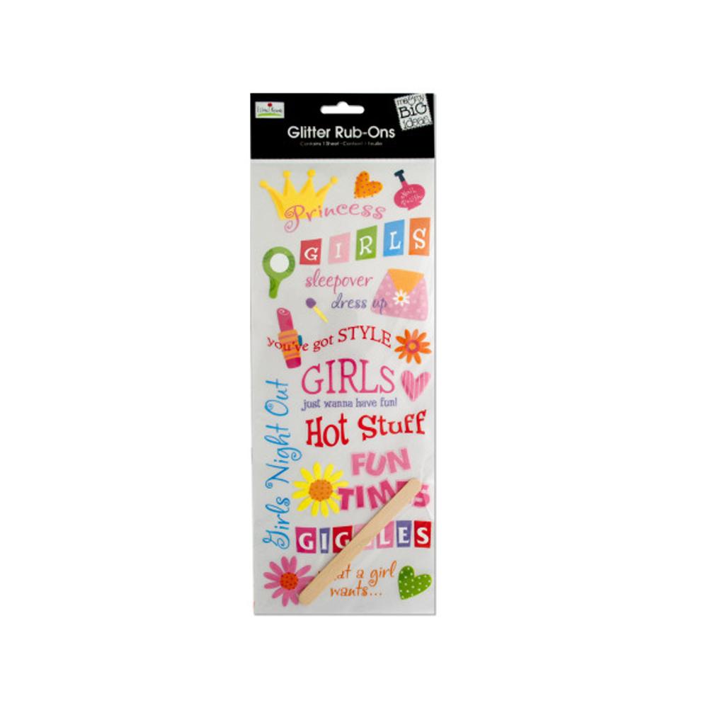 Girls Glitter Rub-On Transfers - Pack of 24: clickhere2shop com