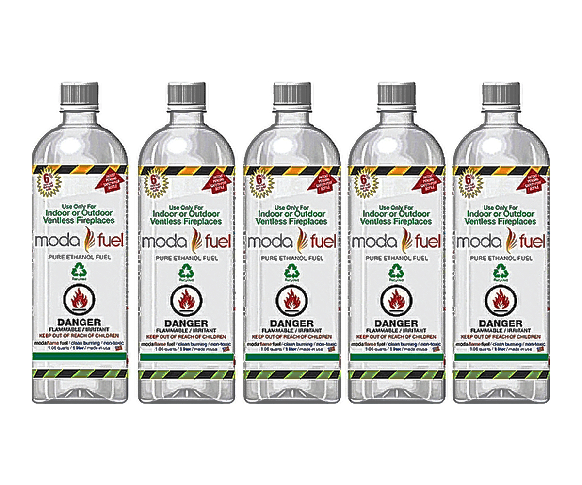 Moda Flame 1 Liter Bio Ethanol Indoor Fireplace Fuel 24 Bottles
