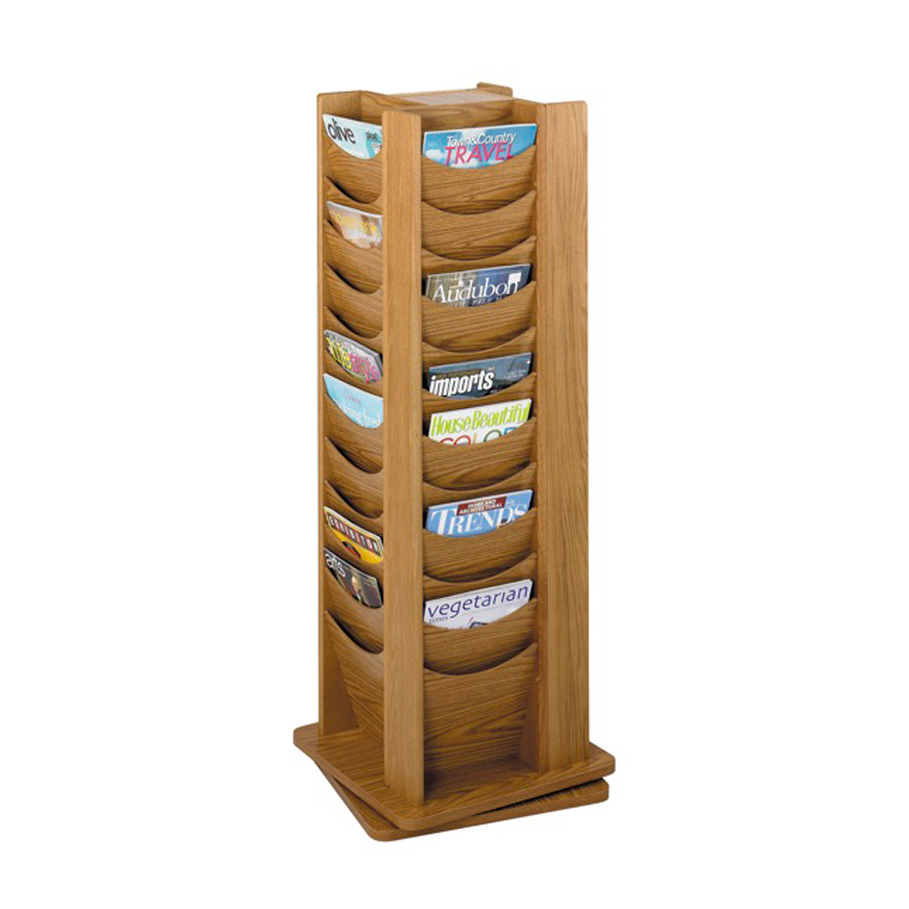 48-Pocket Solid Wood Rotating Display Medium Oak